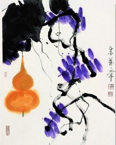 齐白石《葫芦》,纸本设色,101.5×34cm