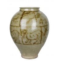 珍稀奇文博馆 陶质表釉罐